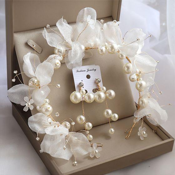 Piękne Złote Biżuteria Ślubna 2020 Stop Kwiat Jedwabiu Kolczyki Ozdoby Do Włosów Ozdoby Do Włosów Ślubne