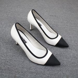 Chic / Beautiful Black White Casual Pumps 2019 Leather 7 cm Stiletto Heels Pointed Toe Pumps