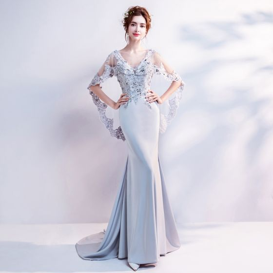 Chic / Beautiful Grey Evening Dresses  2018 Trumpet / Mermaid V-Neck Lace Appliques Backless Beading Rhinestone Evening Party Formal Dresses