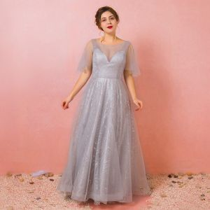 Bling Bling Argenté Grande Taille Robe De Bal 2018 Princesse U-Cou Tulle Appliques Dos Nu Perlage Paillettes Promo Soirée Robe De Soirée