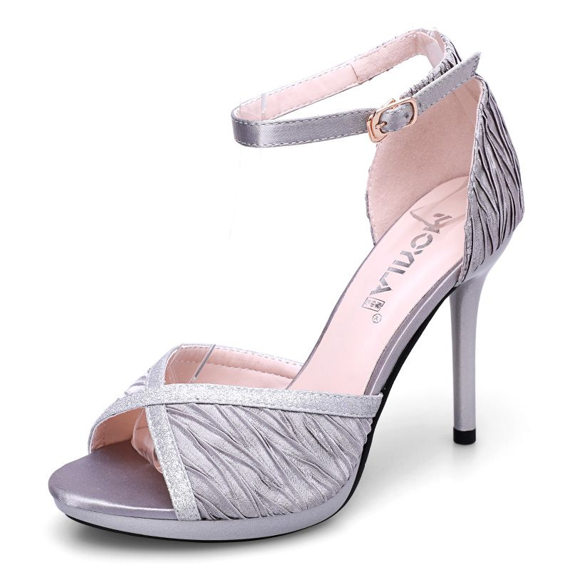 Chic / Beautiful Evening Party Womens Shoes 2017 PU Prom Sequins Open / Peep Toe High Heels Pumps