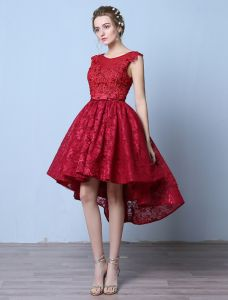Elegant Cocktail Dresses 2016 Scoop Neck Applique Lace Asymmetrical Short Dress With Beads