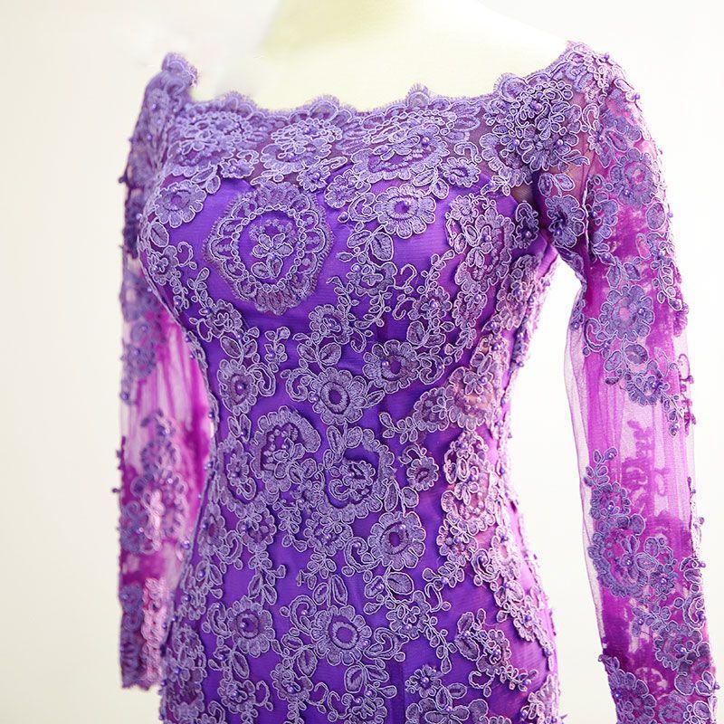 Chic / Beautiful Purple Evening Dresses  2017 Square Neckline Long Sleeve Appliques Lace Trumpet / Mermaid Formal Dresses