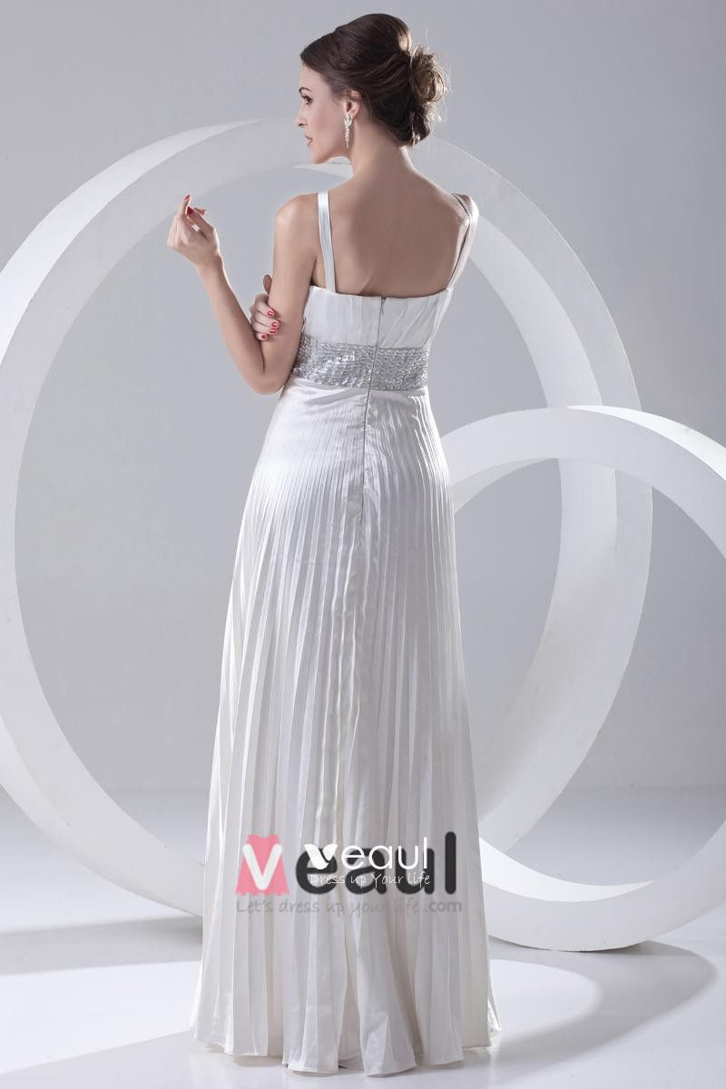 Fashion Satin Beaded Pleated V Neck Sleeveless Floor Length Prom Dress
