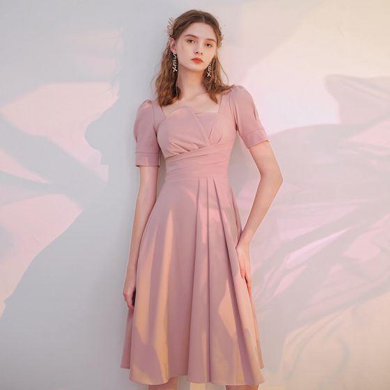 Enkel Rødmende Rosa Homecoming Graduation Kjoler 2021 Prinsesse Firkantet Hals Korte Ermer Te-lengde Formelle Kjoler