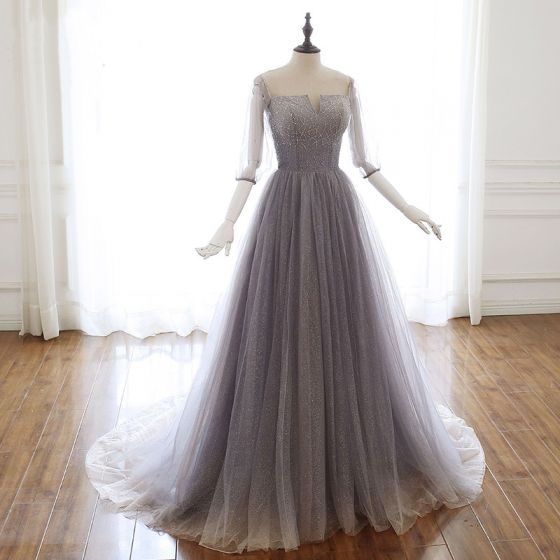 Luxury / Gorgeous Grey Purple Glitter Evening Dresses  2020 A-Line / Princess Off-The-Shoulder Beading Rhinestone Sequins 3/4 Sleeve Backless Sweep Train Formal Dresses