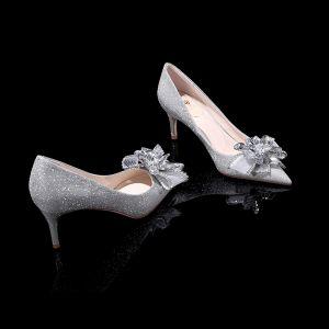 Glitzernden Bling Bling Silber Damenschuhe 2019 Leder Perlenstickerei Blumen Glanz Pailletten Abend Hochhackige Spitzschuh Brautschuhe