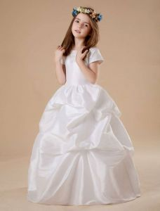White Short Sleeves Ruched Satin Flower Girl Dress