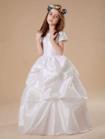 White Short Sleeves Ruched Satin Flower Girl Dress