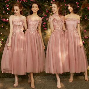 Chic / Belle Perle Rose Robe Demoiselle D'honneur 2018 Princesse Appliques Percé En Dentelle Longueur Cheville Volants Robe Pour Mariage