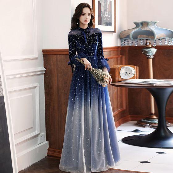Chinesischer Stil Sternenklarer Himmel Königliches Blau Tanzen Ballkleider 2021 A Linie Durchsichtige Stehkragen Lange Ärmel Star Pailletten Lange Rüschen Festliche Kleider