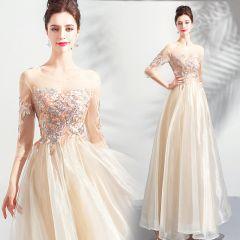 Elegant Champagne Prom Dresses 2019 A-Line / Princess Scoop Neck Embroidered 3/4 Sleeve Backless Floor-Length / Long Formal Dresses