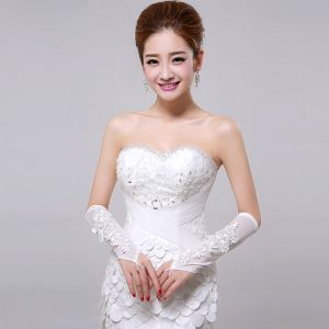 Białe Koronki Z Kwiatami Ślubu Panna Młoda Rękawiczki Bez Palców