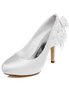 Belles Escarpin Blanc Chaussures De Mariage 10 cm Talons Aiguilles Chaussures Mariée Hauts Talons Avec Fleur
