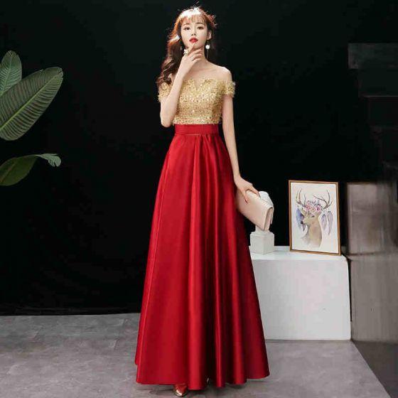 86bca02c8a Uroczy Złote Sukienki Wieczorowe Princessa 2019 Przy Ramieniu Cekiny Kutas Kótkie  Rękawy Bez Pleców Długie Sukienki Wizytowe