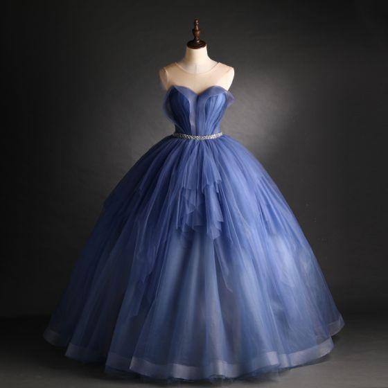 Eleganckie Ciemnoniebieski Sukienki Na Bal 2021 Suknia Balowa Wycięciem Frezowanie Cekiny Szarfa Bez Rękawów Bez Pleców Długie Bal Sukienki Wizytowe