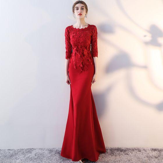 Piękne Burgund Sukienki Wieczorowe 2017 Syrena / Rozkloszowane Wycięciem 3/4 Rękawy Aplikacje Z Koronki Długie Sukienki Wizytowe