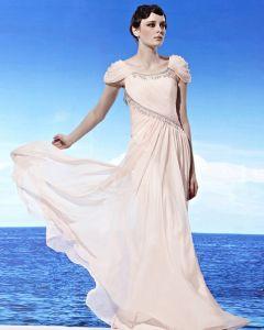 Col Rond Drape Epaule D'emballage De Perles Longueur Tencel Robes De Soirée De La Femme De Plancher Sans Manches