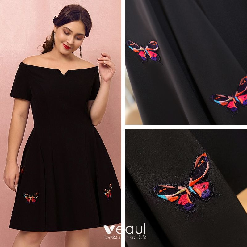 Classic Elegant Black Plus Size Graduation Dresses 2018 A-Line / Princess  Butterfly Appliques Strapless Homecoming Formal Dresses