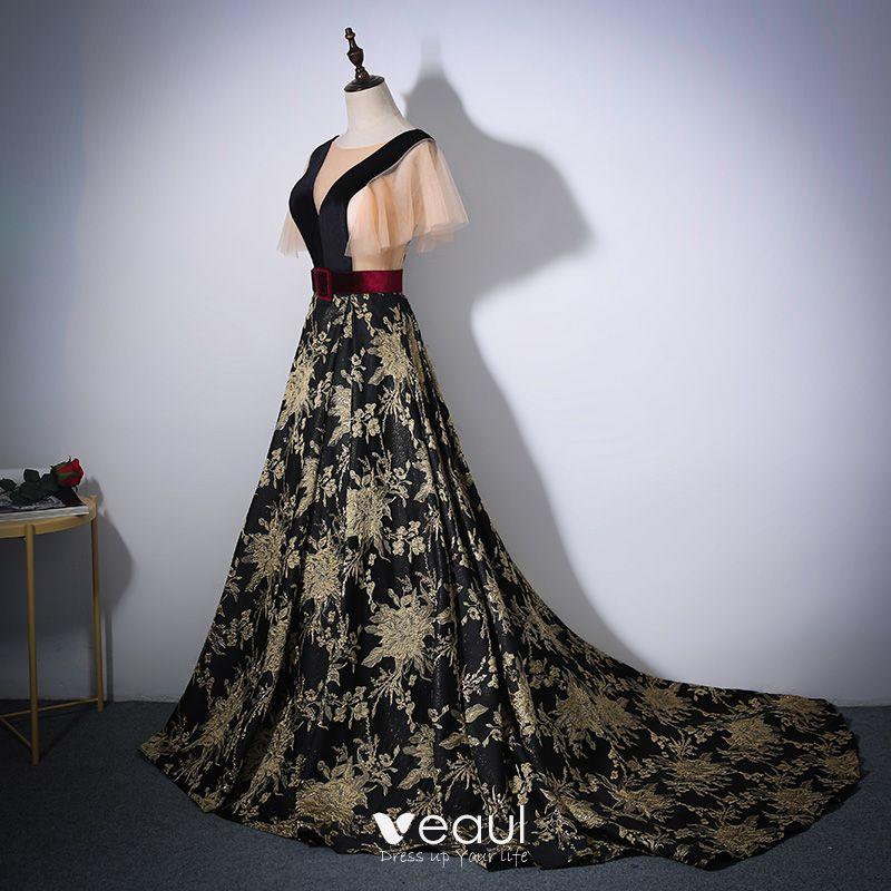 Eleganta Svarta Guld Balklänningar 2017 Prinsessa Urringning