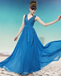 Floor Length Sleeveless V Neck Beading Tassels Tencle Empire Woman Evening Dress