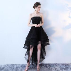 Uroczy Czarne Sukienki Koktajlowe 2019 Princessa Bez Ramiączek Z Koronki Kwiat Bez Rękawów Bez Pleców Asymetryczny Sukienki Wizytowe
