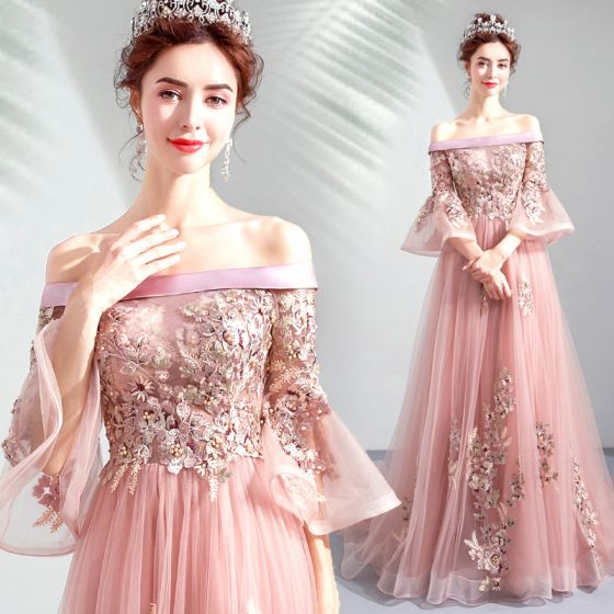 Classy Candy Pink Prom Dresses 2020 A-Line / Princess Off-The-Shoulder Pearl Rhinestone Lace Flower Bell sleeves Backless Sweep Train Formal Dresses