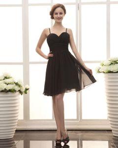 Cariño Rodilla Gasa De La Longitud De Raso Con Vuelos Pequeño Vestido Negro Partido