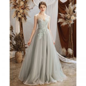Elegant Grey See-through Evening Dresses  2020 A-Line / Princess V-Neck Sleeveless Appliques Lace Beading Floor-Length / Long Ruffle Backless Formal Dresses
