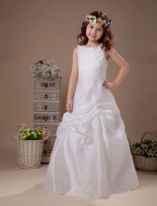 Satin Blanc Sans Manches Robe Ceremonie Fille Robe Fille Mariage