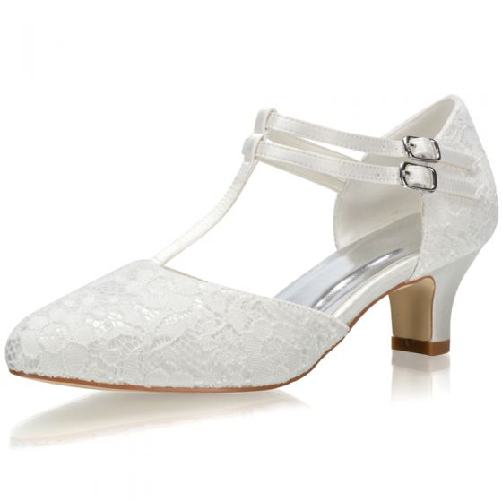Elegant Ivory Satin Lace Wedding Shoes 2021 T-Strap 5 cm Thick Heels Pointed Toe Wedding High Heels