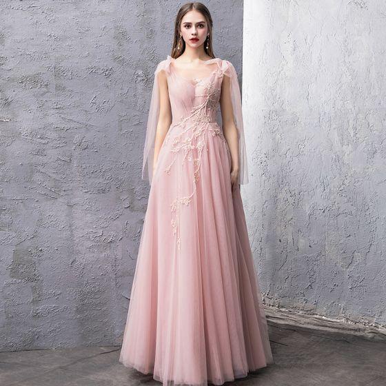 Schöne Pearl Rosa Abendkleider 2019 A Linie Durchsichtige ...
