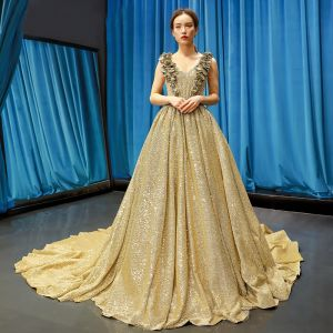 Sparkly Gold Sequins Evening Dresses  2020 A-Line / Princess V-Neck Sleeveless Court Train Ruffle Backless Formal Dresses