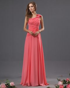One Shoulder Chiffon Bowtie Floor Length Bridesmaid Dresses