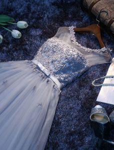 Charmig Grå Långklänning Backless Aftonklänning Med Blommor Balklänningar För 2016 Nya Året