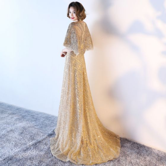 Sparkly Formal Dresses 2017 Evening Dresses  Glitter Gold Sequins A-Line / Princess Sweep Train Scoop Neck 1/2 Sleeves Satin Sash