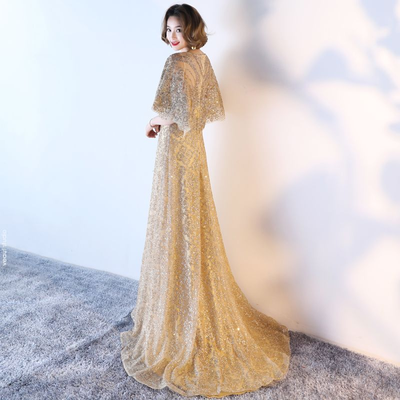 Sparkly Formal Dresses 2017 Evening Dresses  Glitter Gold Sequins A-Line / Princess Sweep Train Scoop Neck 1/2 Sleeves Satin Sash