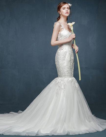 2015 Fashion Double Shoulder Fishtail Lace Collar Vest Sexy Halter Trailing Wedding Dress