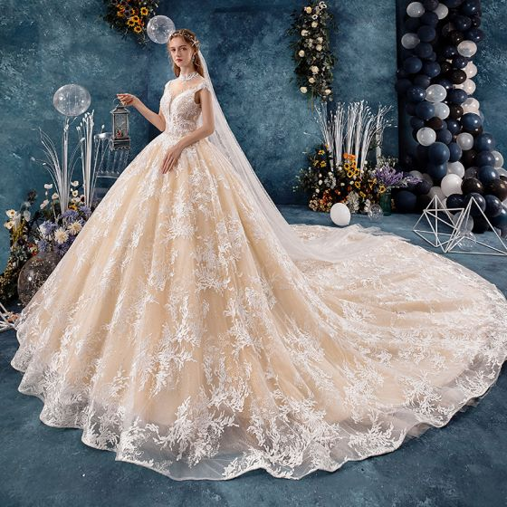 Vintage / Retro Champagne See-through Wedding Dresses 2019