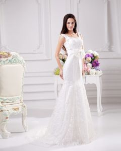 Elegant Bow Beading Scoop Floor Length Court Train Satin Yarn Lace Sheath Wedding Dress
