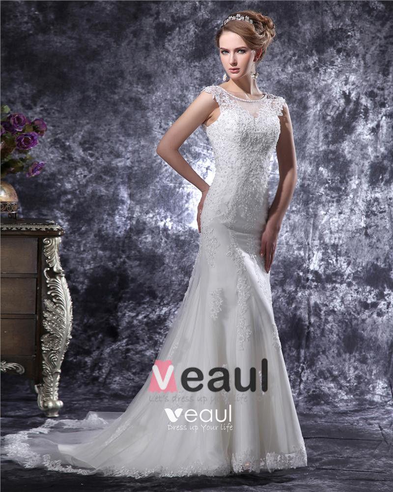 V Neck Beading Applique Floor Length Satin Sheath Wedding Dress