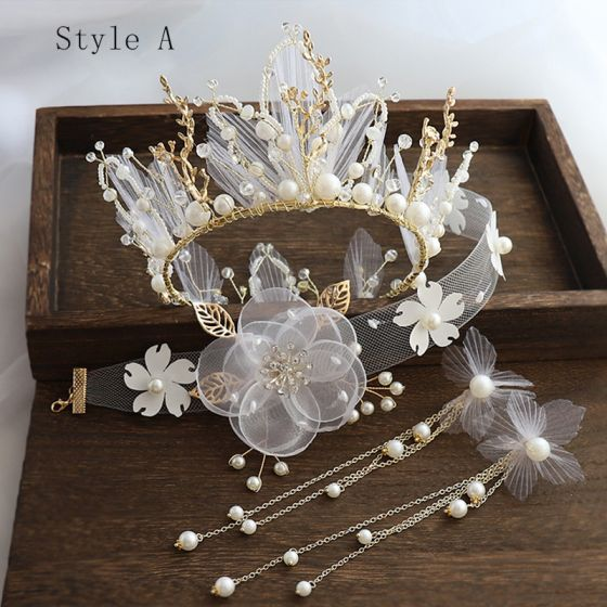 Charming Gold Bridal Jewelry 2020 Alloy Silk Flower Pearl Rhinestone Necklace Earrings Tiara Bridal Hair Accessories