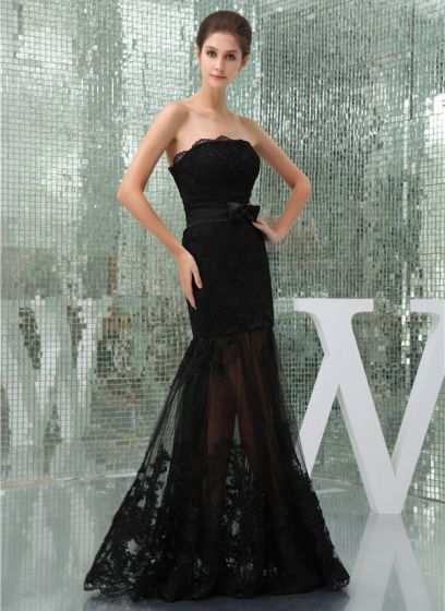 Charming Black Strapless Bow Sash Lace Cocktail Dress Evening Dress
