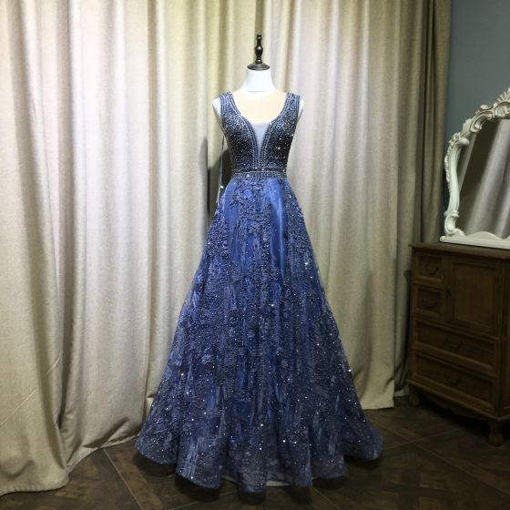Sparkly Royal Blue Handmade  Beading Evening Dresses  2019 A-Line / Princess V-Neck Crystal Lace Flower Sleeveless Backless Floor-Length / Long Formal Dresses