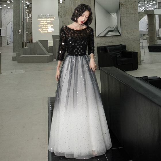 Affordable Black Gradient-Color White Evening Dresses  2020 A-Line / Princess See-through Scoop Neck 3/4 Sleeve Star Sequins Floor-Length / Long Ruffle Formal Dresses