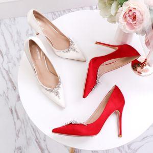 Chic / Beautiful Ivory Wedding Shoes 2020 Satin Rhinestone 10 cm Stiletto Heels Pointed Toe Wedding Pumps