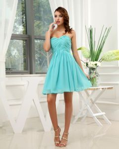 Chiffon Sweetheart Ruffle Sleeveless Backless Zipper Short Pleated Bridesmaid Dress