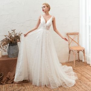 Affordable Ivory Outdoor / Garden Summer Wedding Dresses 2019 A-Line / Princess Deep V-Neck Sleeveless Backless Appliques Lace Court Train Ruffle
