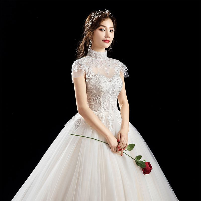 Chic / Beautiful Ivory Wedding Dresses 2019 A-Line / Princess High Neck Beading Sequins Appliques Lace Flower Short Sleeve Backless Floor-Length / Long