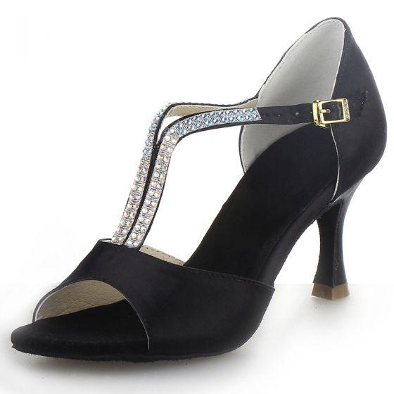Moda Czarne Rhinestone Bal Latin Buty Taneczne 2021 T-Bar 7 cm Szpilki Peep Toe Sandały Damskie Wysokie Obcasy